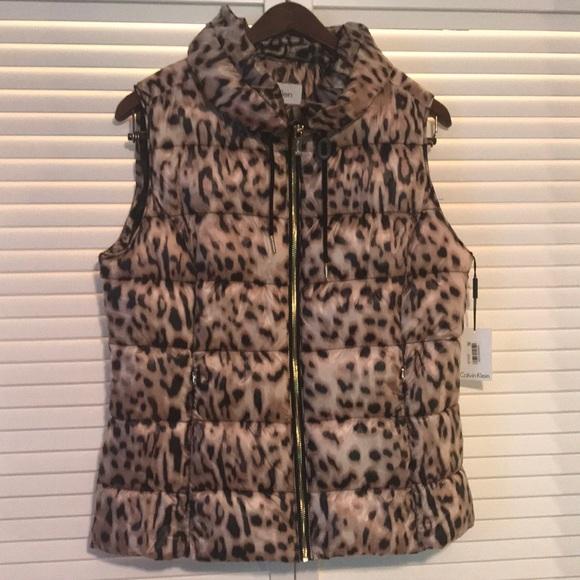3d4f3df77e1484 NWT Calvin Klein Leopard Print Puffer Vest